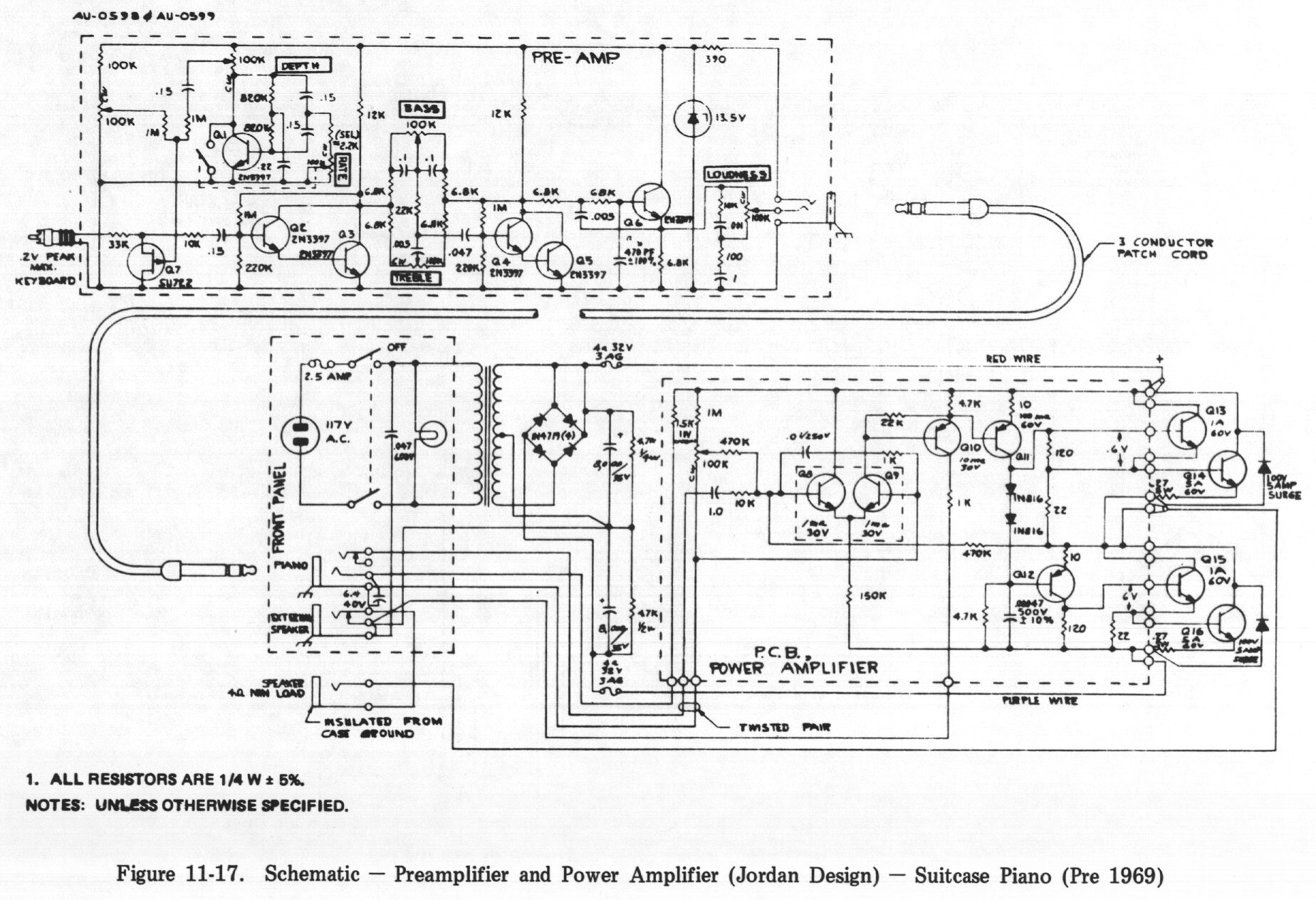 rhodes service manual table of contents 11 17 schematic preamplifier and power amplifier design suitcase piano pre 1969