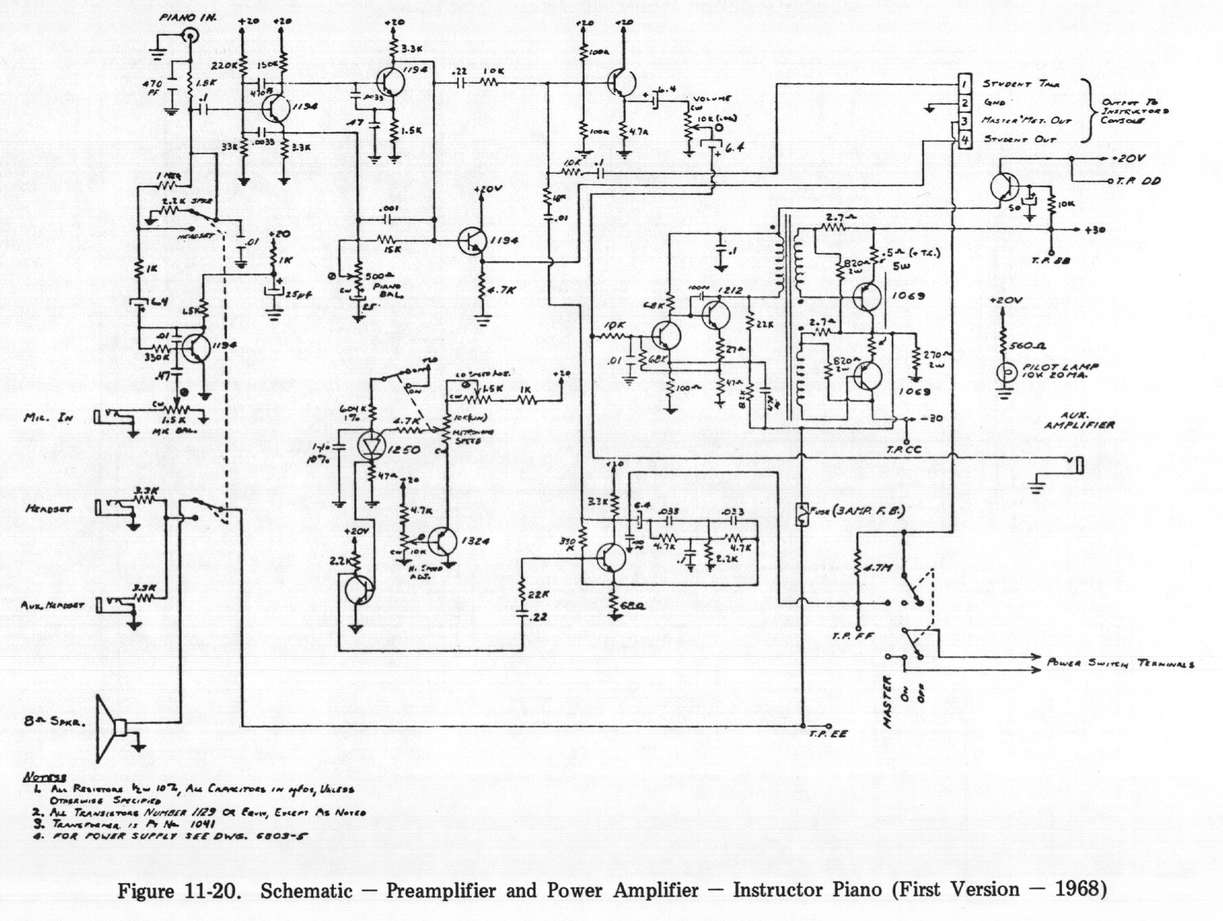 Chapter 11 Diagrams Schematics And Pictorials Design Schematic Preamplifier Power Amplifier Instructor Piano First Version 1968