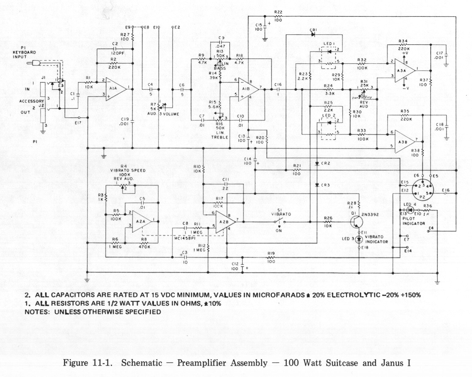 Rhodes Service Manual Table Of Contents Guitar Pre Schematic Circuits As Well Electric Circuit Diagram 11 1